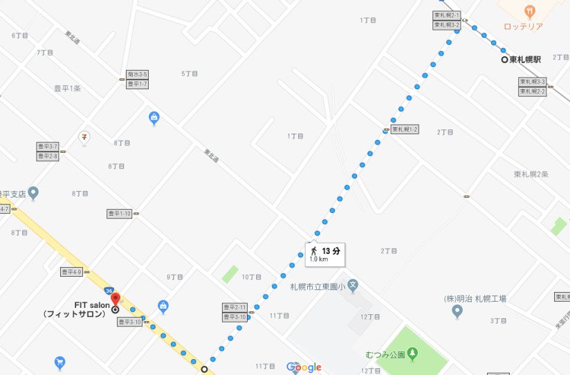 MAP_東札幌から